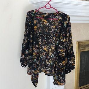 Anthropologie Cassia silk floral kimono cardigan L